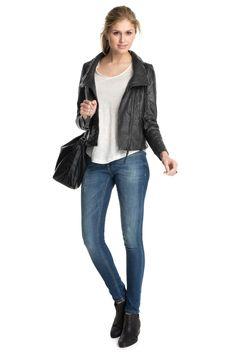 Esprit : Veste froissée en cuir souple, style motard à acheter sur la Boutique en ligne