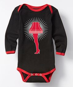 Love this Black & Red Leg Lamp Long-Sleeve Bodysuit - Infant by Festuvius on #zulily! #zulilyfinds