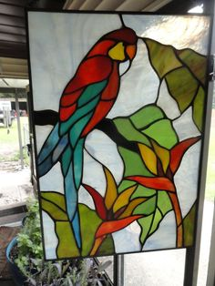 Stained Glass Panel Parrot Tropical Decor Window Sun Catcher Lovely Bi