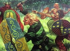 A good representation of Britons charging into battle. The chieftain in the background wears the famous helmet dredged from the river Thames, interestingly the only living example of a Celtic helmet with horns. Ancient Rome, Ancient Art, Ancient History, Gaul Warrior, Celtic Shield, Celtic Warriors, Roman Era, Celtic Culture, Celtic Art
