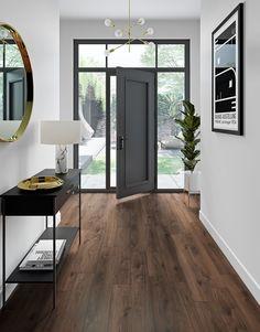 Dark Laminate Floors, Walnut Wood Floors, Hardwood Floor Colors, Wood Floor Tiles, Modern Flooring, Dark Laminate Wood Flooring, Wood Floor Design, Flooring Ideas, Kitchen Hardwood Floors