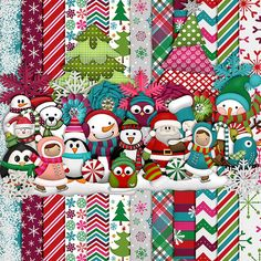 This winter-y kit includes 12 bright patterned papers and 50+ elements.