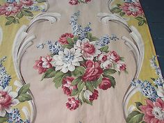 30's Original Romantic Cottage Inspired Barkcloth Era Fabric for Drapes Curtains