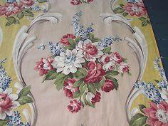 30's Original Romantic Cottage Inspired Barkcloth Era Fabric for Drapes Curtains