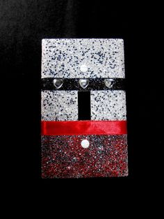 SALE!! - Sparkly Red, White, & Black Glitter Light Switch Plate Cover with Rhinestone Hearts and Ribbon Stripes - Home Wall Lighting Décor by VampedByVivian on Etsy