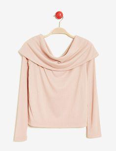 a06fafb8aa5 Top côtelé col bardot rose clair femme • Jennyfer