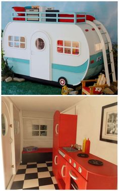 Beds Your Kids Will Lose Their Minds Over And this trailer loft bed that you can actually go inside.And this trailer loft bed that you can actually go inside. Playhouse Bed, Indoor Playhouse, Cool Bunk Beds, Kids Bunk Beds, Kids Beds Diy, Kids High Beds, Play Beds, Awesome Bedrooms, Cool Rooms
