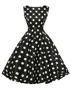 Cute Boatneck Sleeveless Vintage Tea Dress With Belt white dot