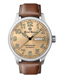Ernst Benz Chronosport Copper Dial Green Numerals Swiss Automatic Men's Watch Authentic with Ernst Benz Backed Warranty Included. Men's Watches, High End Watches, Cool Watches, Fashion Watches, Cheap Watches, Analog Watches, Silver Pocket Watch, Swiss Army Watches, Watch Model