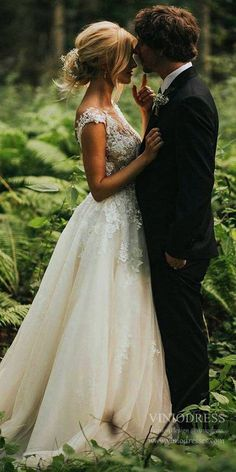 A-line Tulle Lace Beach Wedding Dresses Backless Bridal Dress – Viniodress Lace Beach Wedding Dress, Country Wedding Dresses, Backless Wedding, Elegant Wedding Dress, Tulle Wedding, Wedding Poses, Wedding Hair, Dream Wedding, Wedding Ideas
