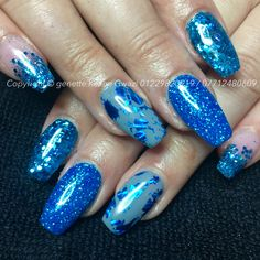 Marine blue nails with foil holographic glitter & gel polish nail art