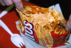 Camping Recipe #2: Frito Pies remember when we used to buy fritos pie at the concession stands this way?!i know its not a hotdog. It doesnt really fit apps, foodies, suh-weets or breakfast. It just looks friggin goooood!