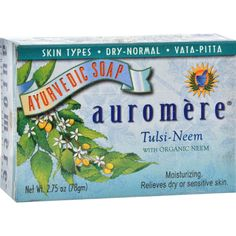 Auromere Ayurvedic Bar Soap Tulsi-Neem - 2.75 oz - Auromere Ayurvedic Bar Soap Tulsi-Neem Description: Hand-made soap Moisturizing for dry or sensitive skin Vata - Pitta Auromeres Tulsi-Neem moisturizing formula combines the excellent toning, soothing and purifying properties of Neem oil, a natural emollient and skin restorative, with 17 other highly recommended indigenous herbal extracts and oils prescribed for centuries by specialists in India for optimum care, nourishment and preservation…