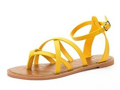 1160fa60fdb75d DREAM PAIRS Women s Slim Yellow Ankle Straps Flat Sandals - 5.5 M US