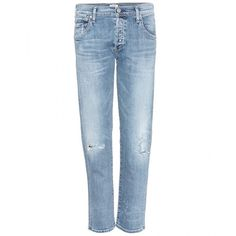 Citizens of Humanity Emerson Slim-Fit Boyfriend Jeans ($275) ❤ liked on Polyvore featuring jeans, pants, bottoms, denim, citizens of humanity, blue denim jeans, boyfriend jeans, slim-fit denim jeans and slim cut jeans
