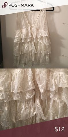 Forever21 white Lace Top Lace, transparent, ruffles Tops Tunics
