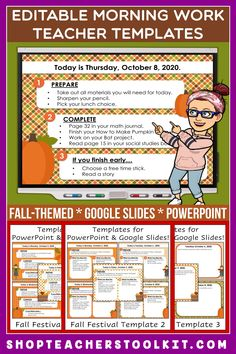These fall-themed Editable PowerPoint and Google Slides Teacher Templates include space to type the day and date, reminders of what to do when entering the classroom, as well as 'must do' and 'may do' assignments. Remind your students of their morning assignments during arrival time by displaying them on your whiteboard or SMARTBoard. #teachertemplates #morningarrivalinstructions #editable #powerpoint #googleslides