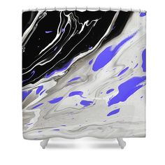 Night Over Ocean. Acrylic Fluid Painting Fragment 1 Shower Curtain for Sale by Jenny Rainbow Shower Curtain Rings, Shower Curtains, Blue Abstract, Abstract Pattern, Fragment 1, Curtains With Rings, Curtains For Sale, Basic Colors, Home Art