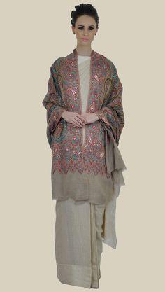 Natural Kalamkari and Sozni Jamawar Pure Kashmir Pashmina Shawl