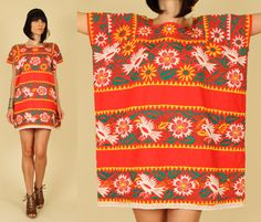 Red Mexican Embroidered Floral Cotton CAFTAN MiNi Dress