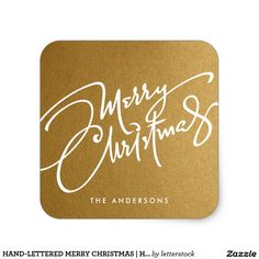 HAND-LETTERED MERRY CHRISTMAS   HOLIDAY STICKER