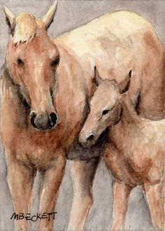 ACEO Original Painting Horse Foal animals pets farm equine baby  filly #Impressionism