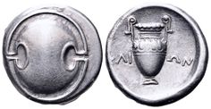 AR Stater. Greek, Boeotia, Thebes, Klion magistrate. Circa 368-364 BC. 21mm, 12,05g. Hepworth 70. Good VF. Price realized (2.7.2016): 304 EUR.