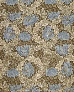Wreath wallpaper, by William Morris, for Morris & Co. England, 1876