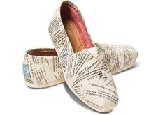 Want these TOMS! Cream Dictionary Quotes Women's Classics
