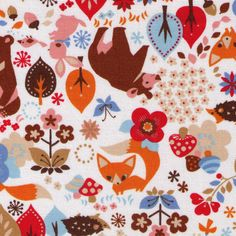 HALF YARD - Woodland Creatures Kokka on White - Bear, Fox, Bunny, Bird, Trees, Owl, Squirrel, Deer, Hedgehog- Japanese Import Fabric by fabricsupply on Etsy