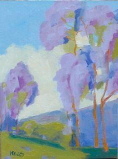 Eucalyptus tree, trees, purple, blue sky, clouds, impressionistic, green grass, purple mountain, original oil, painting, oil, landscape, blue sky, wall art, art