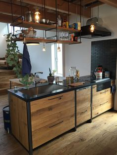 Watches for kitchen - Home Fashion Trend Loft Kitchen, Kitchen Benches, Open Plan Kitchen, Home Decor Kitchen, Home Kitchens, Farmhouse Kitchen Cabinets, Wooden Kitchen, Painting Kitchen Cabinets, Industrial Kitchen Design