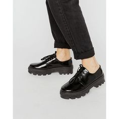 ASOS MELANIE Leather Lace Up Flat Shoes ($40) ❤ liked on Polyvore featuring shoes, flats, black, black flat shoes, leather flats, round toe flats, laced up flats and flat shoes