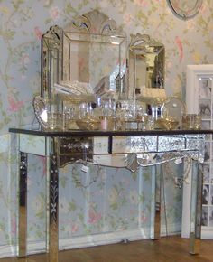 Venetian Etched Glass Dressing Table