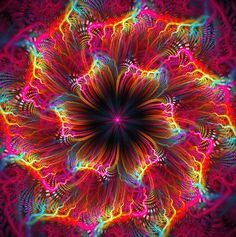 mandala by Sandra MI Fractal Design, Fractal Art, Kaleidoscope Art, Rainbow Colors, Vibrant Colors, Colours, Art Antique, Psychedelic Art, Optical Illusions