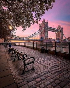 Who would you love to sit on this London bench with? Love this early morning view of Tower Bridge in the capital captured by . Places To Travel, Places To Visit, Destination Voyage, London Bridge, London City, London Photos, Travel Photos, Beautiful Places, Wonderful Places