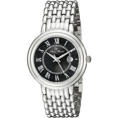 Lucien Piccard Fantasia Analog Display Quartz Silver Watch ($57) ❤ liked on Polyvore featuring jewelry, watches, silver watches, lucien piccard jewelry, roman numeral jewelry, black dial watches and analog watches