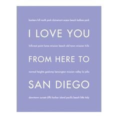 """HopSkipJumpPaper - I Love You From Here To San Diego Art Print on Canvas, Lavender, 8""""x10"""" - Celebrate your love for your favorite state: San Diego!"""