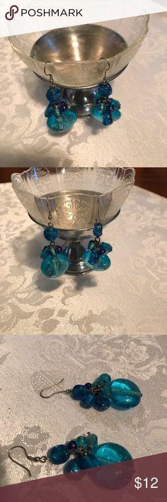 "Blue Glass dangle earrings Just under 2"" glass dangle turquoise earrings Jewelry Earrings"