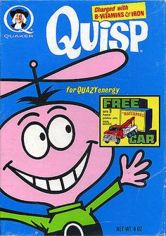 QUISP cereal box replica fridge magnet - NEW! General Mills, Vintage Advertisements, Vintage Ads, Vintage Food, Quisp Cereal, 80s Ads, 1970s Cartoons, Custom Writing, Free Cars