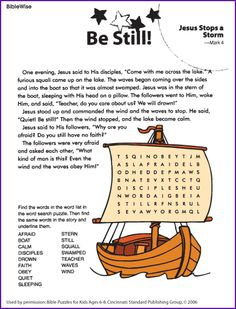 Jesus Stops the Storm (Word Search)- Kids Korner - BibleWise - check out BibleWise - looks good!