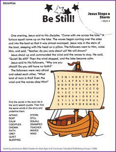 Jesus Stops the Storm (Word Search)- Kids Korner - BibleWise