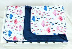 Minky Baby Blanket for Girl cloud navy  Nuva Handmade size