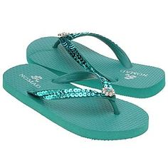 Nomad Womens Glitzy Flip Flop in Turquoise - Bling Flip Flops by Nomad: Shoes