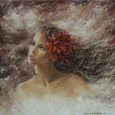 A Song for everything, soft pastel, sold http://www.acrista.com/en/portfolio/ #art #female #flower