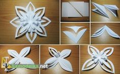 Here is a great and simple project to DIY paper snowflake flower ornaments. Paper Snowflake Patterns, 3d Paper Snowflakes, How To Make Snowflakes, Snowflake Craft, Christmas Snowflakes, Christmas Ornaments, Paper Christmas Decorations, Diy Christmas Gifts, Holiday Crafts