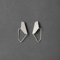 Geometric Sterling Silver Earrings Sterling Silver by RawObjekt