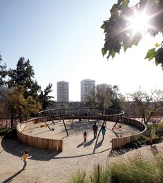 Chilean architecture practice Elemental Studio has set a new standard for children's playgrounds with its new addition to Santiago Metropolitan Park. A central aim of the project, sited on the San Cristobal hill, is to help improve Santiago's social la. Park Playground, Playground Design, Outdoor Playground, Children Playground, Urban Landscape, Landscape Design, Bicentennial Park, Natural Playground, Urban Park