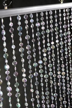 """Iridescent Crystal Curtains 35"""" x 6ft (18 strands)"""