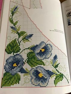 This Pin was discovered by Nez Cross Stitch Borders, Cross Stitch Rose, Cross Stitch Flowers, Cross Stitching, Cross Stitch Patterns, Beaded Embroidery, Cross Stitch Embroidery, Crochet Edging Patterns, Bargello